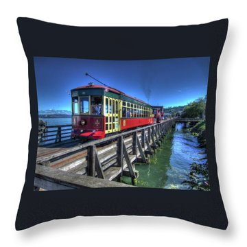 Astoria Riverfront Trolley Throw Pillow
