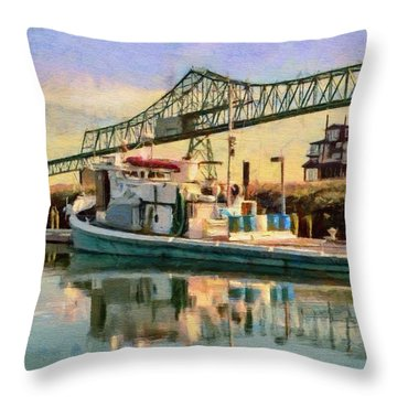 Throw Pillow featuring the painting Astoria Waterfront, Scene 1 by Jeff Kolker