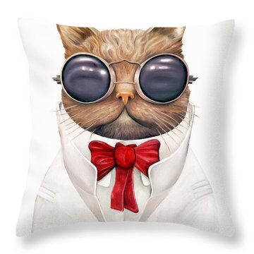 Astro Cat Throw Pillow by Animal Crew