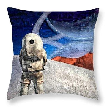 Astronaut On Exosolar Planet Throw Pillow