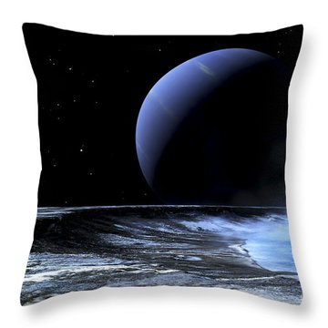 Astronaut Standing On The Edge Throw Pillow by Frank Hettick