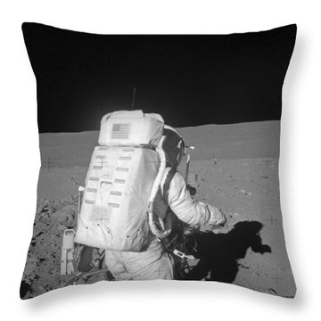 Astronaut Walking On The Moon Throw Pillow by Stocktrek Images