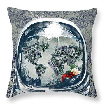 Astronaut World Map 5 Throw Pillow