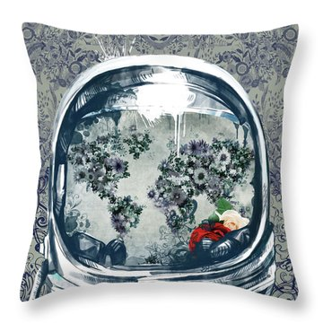 Astronaut World Map 5 Throw Pillow