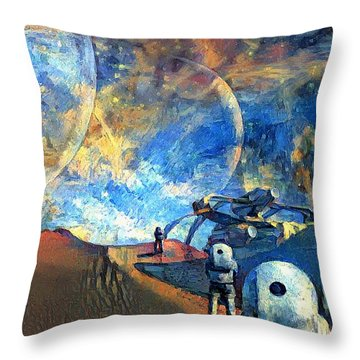Astronauts On A Red Planet Throw Pillow