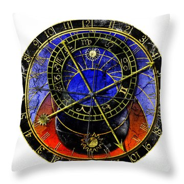 Astronomical Clock In Grunge Style Throw Pillow by Michal Boubin
