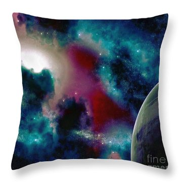 Astronomy Painting Glammed Out Teal Throw Pillow