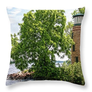 Asylum Point Lighthouse 1 Throw Pillow by Trey Foerster