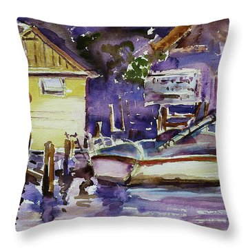At Boat House 3 Throw Pillow by Xueling Zou