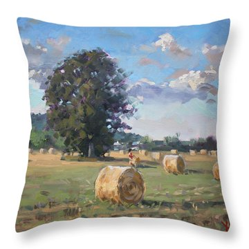 At Cathy's Farm Georgetown Throw Pillow