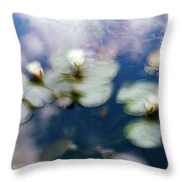 Throw Pillow featuring the photograph At Claude Monet's Water Garden 4 by Dubi Roman
