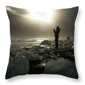 The Diamond Beach, Jokulsarlon, Iceland Throw Pillow