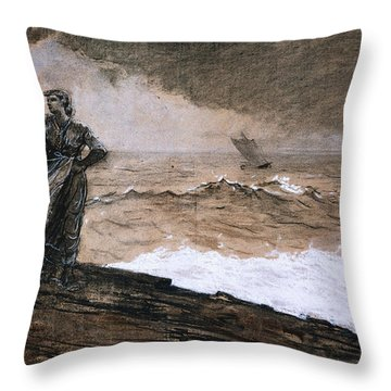 At High Sea Throw Pillow by Winslow Homer