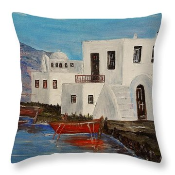 Throw Pillow featuring the painting At Home In Greece by Marilyn  McNish