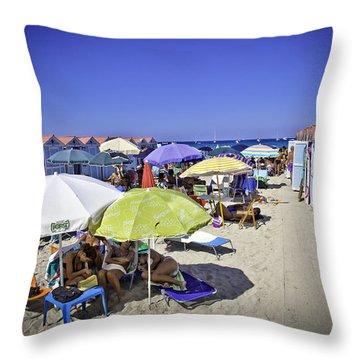 At Mondello Beach - Sicily Throw Pillow by Madeline Ellis