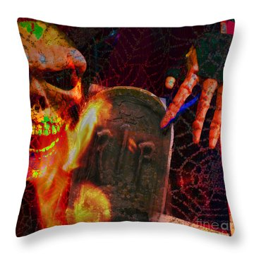 At Night In The Graveyard Throw Pillow