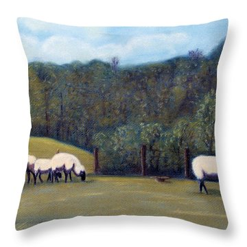 Throw Pillow featuring the pastel At Pasture by Jan Amiss