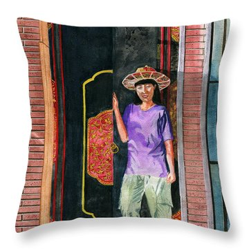 Throw Pillow featuring the painting At Puri Kelapa by Melly Terpening