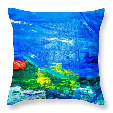 Throw Pillow featuring the painting At Sea by Piety Dsilva