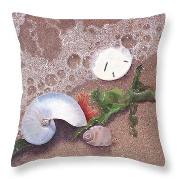 Throw Pillow featuring the painting At Shore's Edge by Cindy Lee Longhini