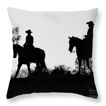 At Sunset On The Ranch Throw Pillow