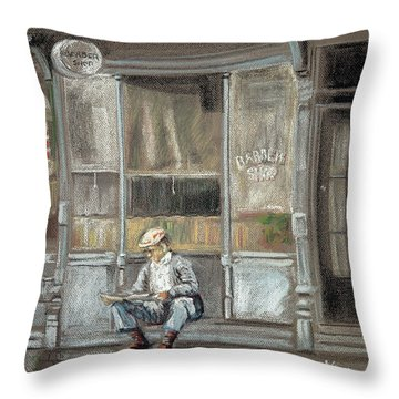 At The Barber Shop Throw Pillow by Marty Garland