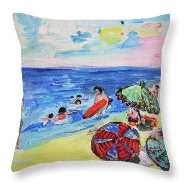 At The Beach Throw Pillow by Amara Dacer