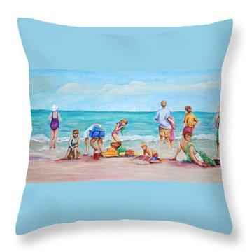 At The Beach Throw Pillow by Patricia Piffath