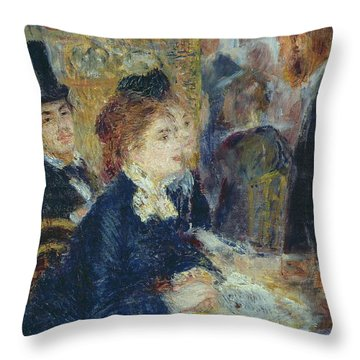 At The Cafe Throw Pillow by Pierre Auguste Renoir
