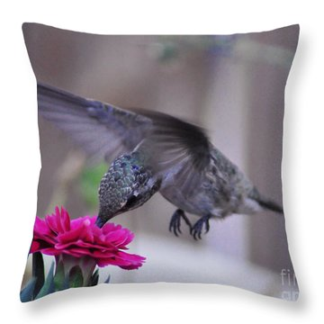 At The Carnation Throw Pillow by Debby Pueschel