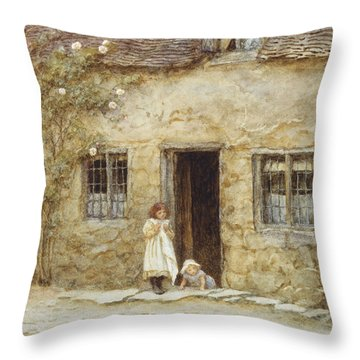 At The Cottage Door Throw Pillow by Helen Allingham
