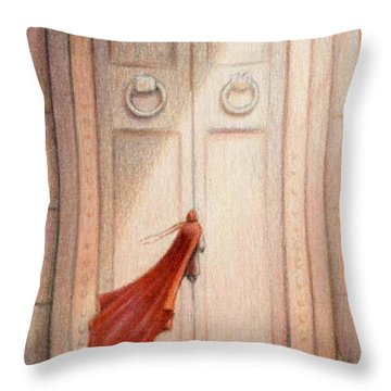 At The Door Throw Pillow by Amy S Turner