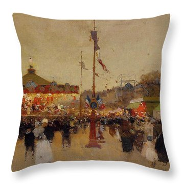At The Fair  Throw Pillow by Luigi Loir