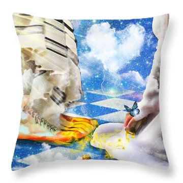 At The Feet Of Jesus Throw Pillow by Dolores Develde