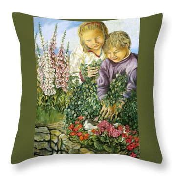 At The Foot Of The Digital Flowers - Au Pied Des Digitales Throw Pillow