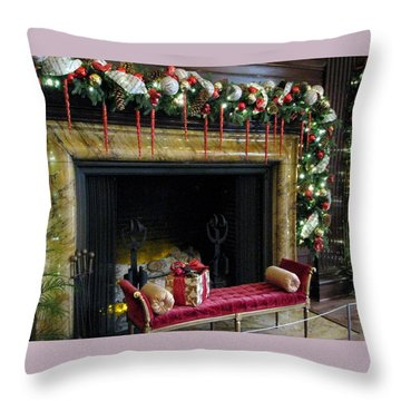 At The Hearth Of Christmas Throw Pillow by Angela Davies