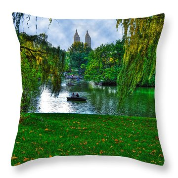 At The Lake In Central Park Throw Pillow by Randy Aveille