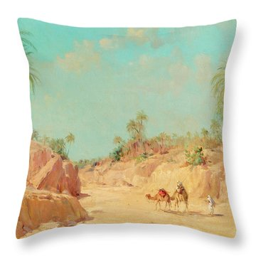At The Oasis Throw Pillow