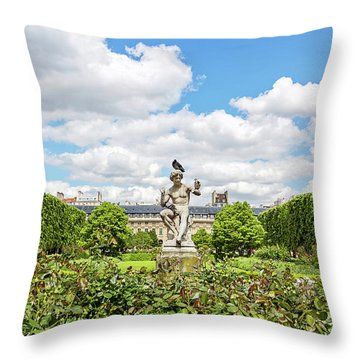 Throw Pillow featuring the photograph At The Palais Royal Gardens by Melanie Alexandra Price