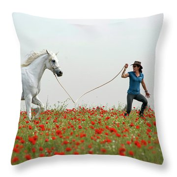 At The Poppies' Field... 2 Throw Pillow