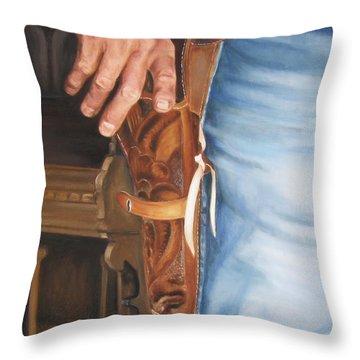 At The Ready Throw Pillow by Lori Brackett