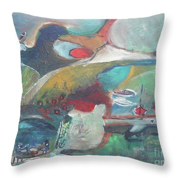 At The Sea Shore Throw Pillow