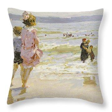 At The Seashore Throw Pillow