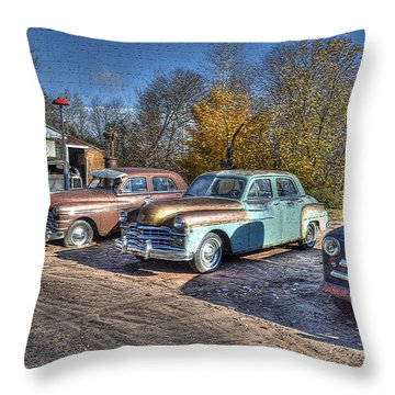 At The Service Station Throw Pillow by Janice Adomeit