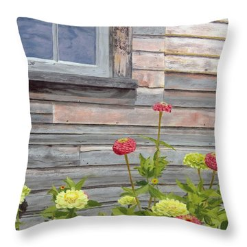 Throw Pillow featuring the painting At The Shelburne by Lynne Reichhart