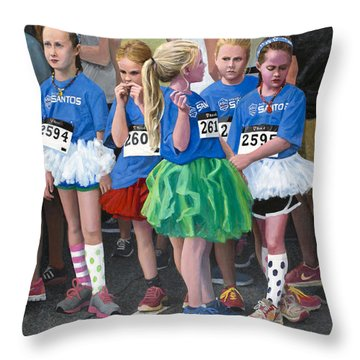 At The Start Of Their Run Throw Pillow