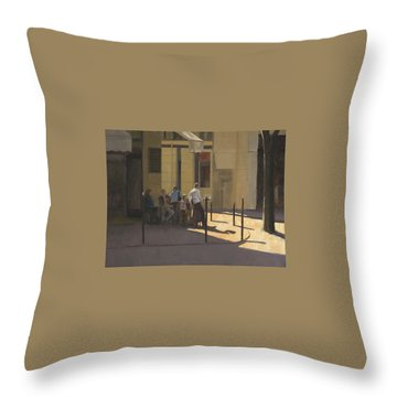 At The Street Cafe Throw Pillow
