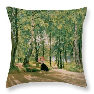 At The Summer Cottage Throw Pillow by Ivan Ivanovich Shishkin