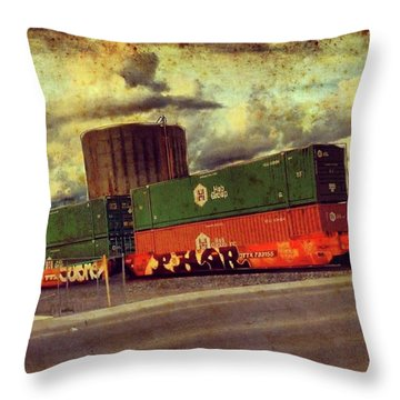 At The Train Crossing. Arizona  Throw Pillow