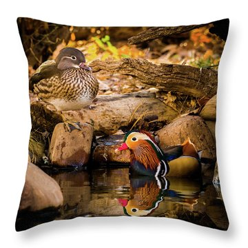 At The Waters Edge - Mandarin Ducks Throw Pillow